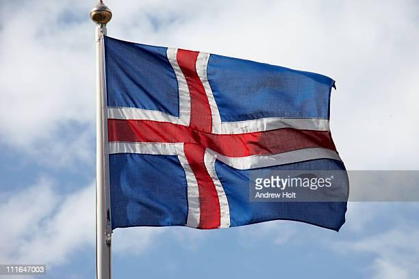 Icelandic flag of Iceland against sky