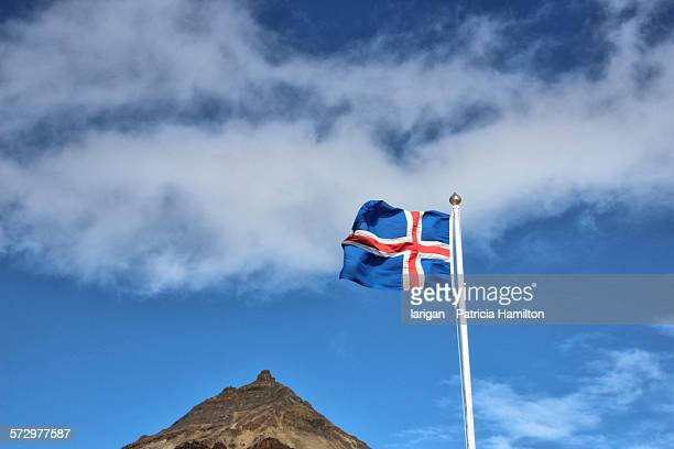 Icelandic flag with Mt Stapafell in the background