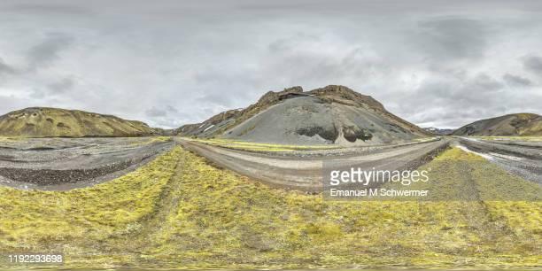 icelandic highland road f 208 east of landmannalaugar while dramatic weather - 360° panorama of automotive scenery for cgi use. - hdri 360 ストックフォトと画像