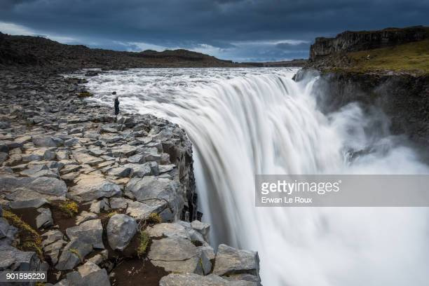 Icelandic landscape of Dettifoss : the most powerfull waterfall in Europe