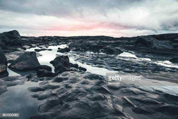 icelandic landscape - volcanic rock stock pictures, royalty-free photos & images