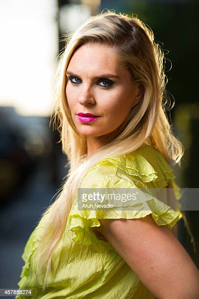 Icelandic Olympic swimmer and model Ragga Ragnarsdottir poses during photoshoot in downtown Los Angeles on October 25 2014 in Los Angeles California