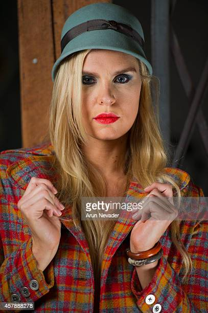 Icelandic Olympic swimmer Ragga Ragnarsdottir poses during photoshoot in Arts District Flea on October 25 2014 in Los Angeles California