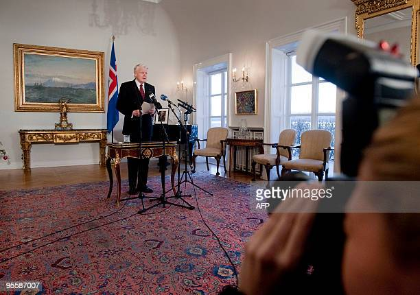 Icelandic President Olafur Ragnar Grimsson announces on January 5 2010 in Reykjavík in a speech televised to the nation that he would not sign a...