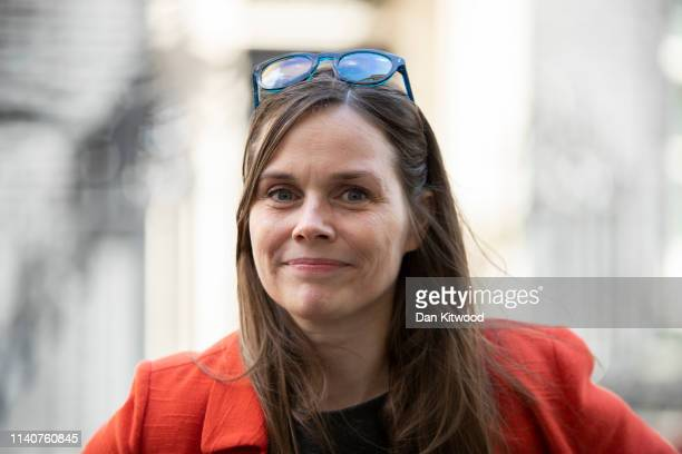 Icelandic Prime Minister Katrin Jakobsdottir leaves 10 Downing Street after a meeting with British Prime Minister Theresa May on May 2 2019 in London...