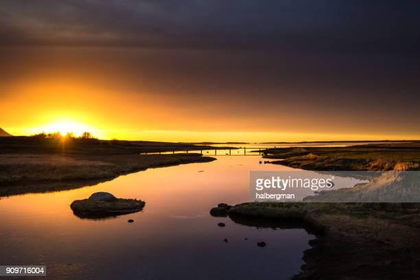 Icelandic River at Sunset