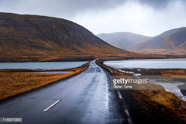 icelandic road in snaefellsnes peninsula of iceland - south stock pictures, royalty-free photos & images
