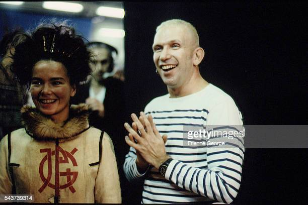 Icelandic singer songwriter composer actress and music producer Björk Guðmundsdóttir and French fashion designer JeanPaul Gaultier on the set of the...