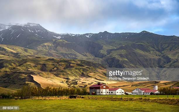 Icelandic village and mountain landscape