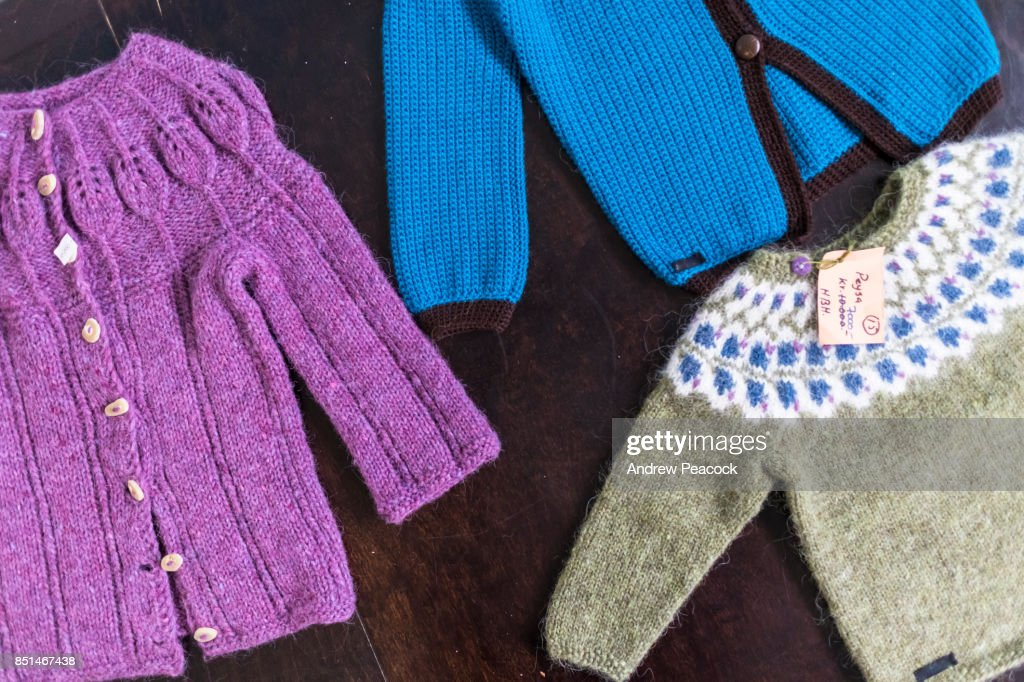 Icelandic Wool Children Sweaters For Sale Flatey Island Stock Photo