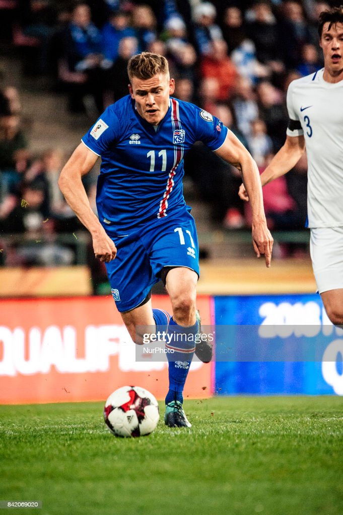 Iceland's Alfred Finnbogason and during the FIFA World Cup 2018 Group I football qualification match between Finland and Iceland in Tampere, Finland, on September 2, 2017.