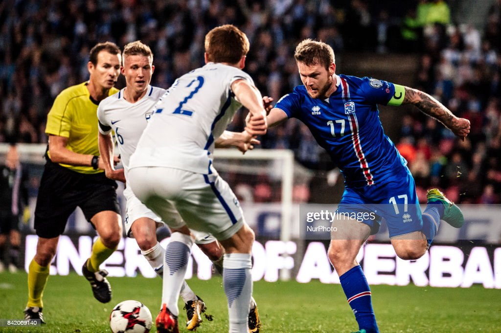 Iceland's Aron Gunnarsson during the FIFA World Cup 2018 Group I football qualification match between Finland and Iceland in Tampere, Finland, on September 2, 2017.