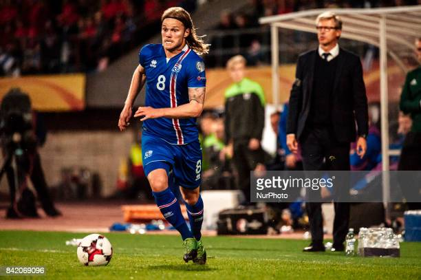 Iceland's Birkir Bjarnason during the FIFA World Cup 2018 Group I football qualification match between Finland and Iceland in Tampere Finland on...