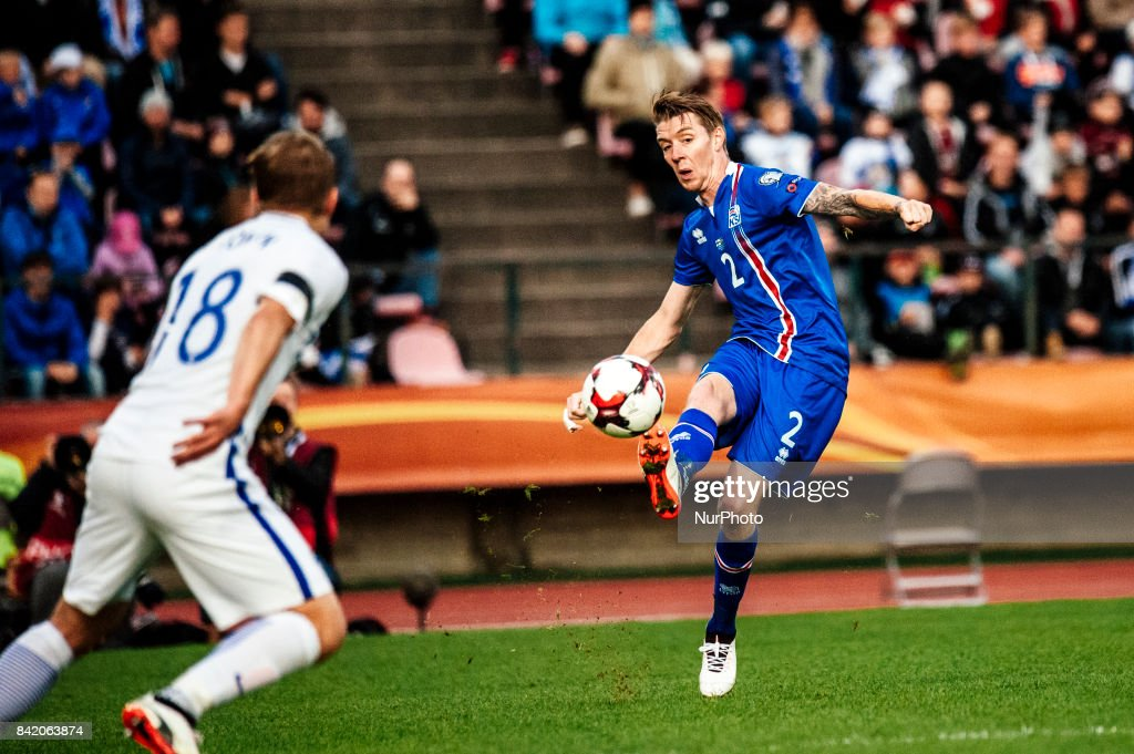 Iceland's Birkir Sævarsson during the FIFA World Cup 2018 Group I football qualification match between Finland and Iceland in Tampere, Finland, on September 2, 2017.