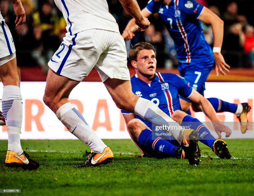 Iceland's Björn Sigurdarson The FIFA World Cup 2018 Group I football qualification match between Finland and Iceland in Tampere, Finland, on September 2, 2017.