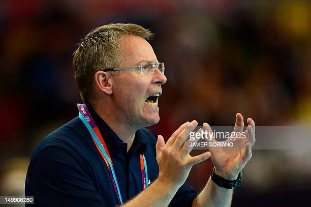 Iceland's coach Gudmundur Gudmundsson reacts during the men's preliminary Group A handball match Iceland vs Great Britain for the London 2012...