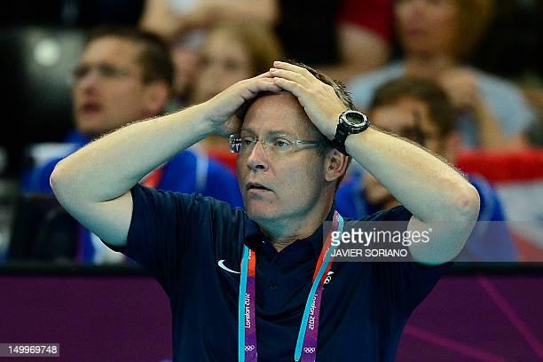 Iceland's coach Gudmundur Gudmundsson reacts during the men's quarterfinal handball match Iceland vs Hungary for the London 2012 Olympics Games on...