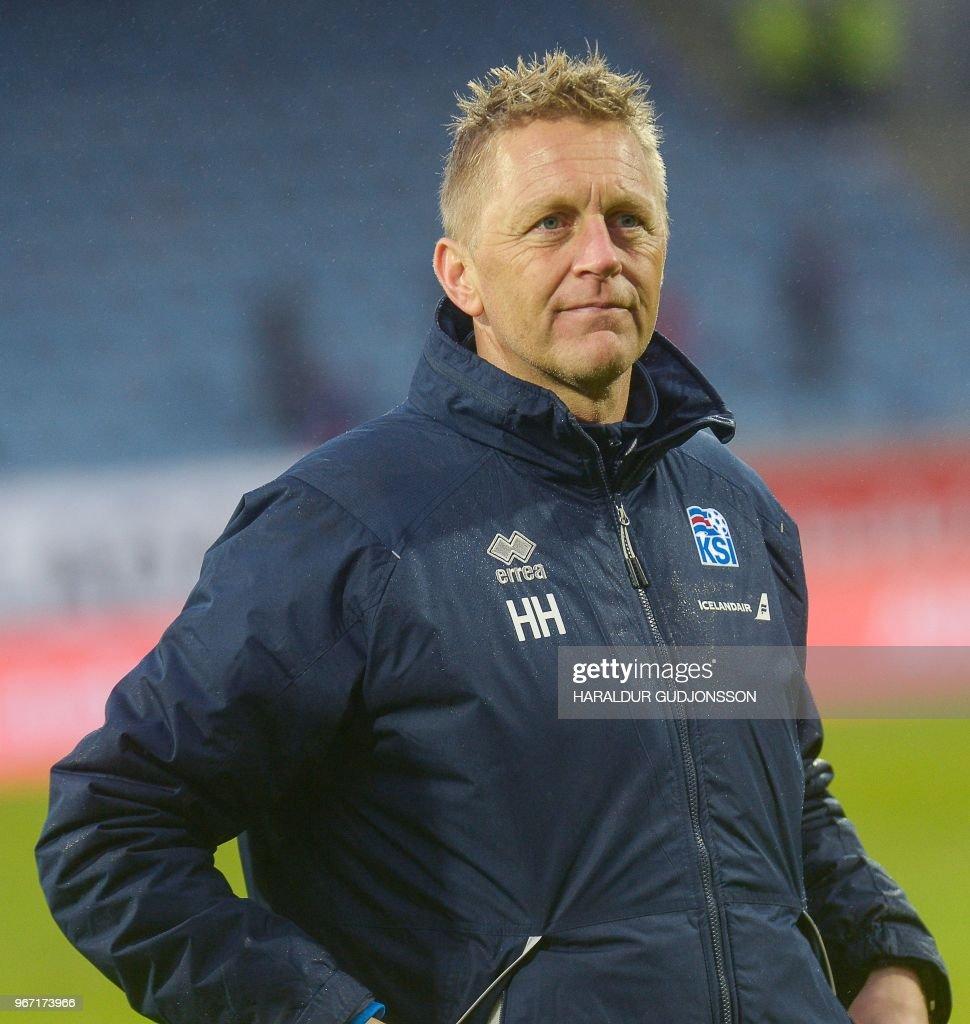 Iceland's coach Heimir Hallgrimsson attends the international friendly football match Iceland v Norway in Reykjavik, Iceland on June 2, 2018.
