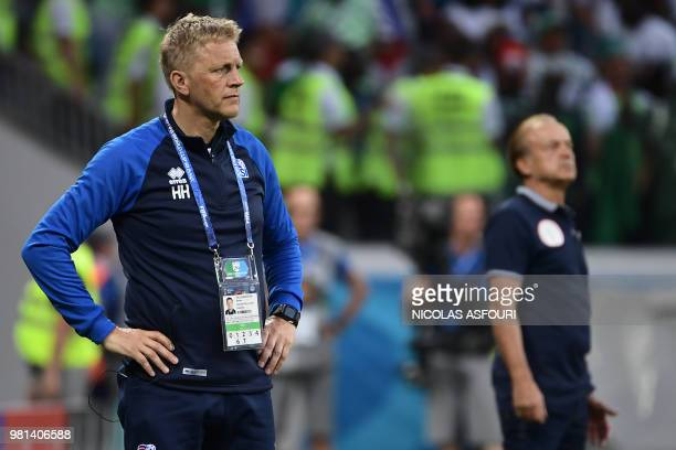 Iceland's coach Heimir Hallgrimsson stands on the sideline during the Russia 2018 World Cup Group D football match between Nigeria and Iceland at the...
