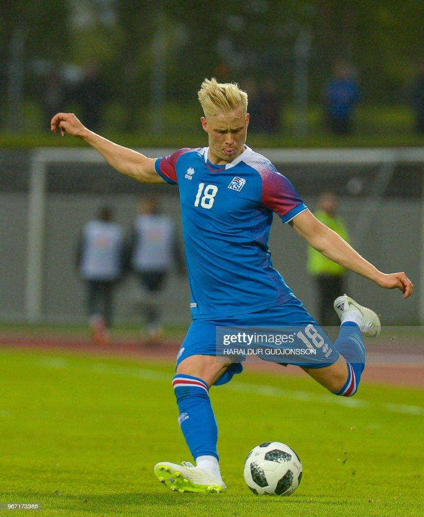 Iceland's defender Hordur Bjorgvin Magnusson plays the ball during the international friendly football match Iceland v Norway in Reykjavik, Iceland on June 2, 2018.