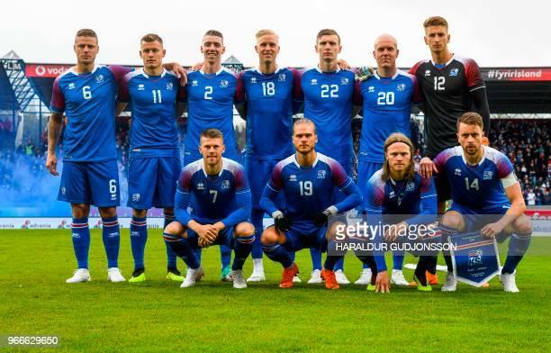 Iceland's defender Ragnar Sigurdsson Iceland's forward Alfred Finnbogason Iceland's defender Birkir Saevarsson Iceland's defender Hordur Bjorgvin...