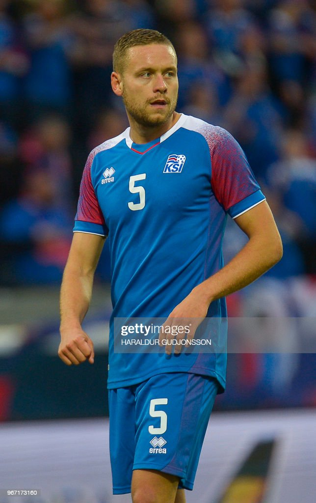 Iceland's defender Sverrir Ingason plays during the international friendly football match Iceland v Norway in Reykjavik, Iceland on June 2, 2018.
