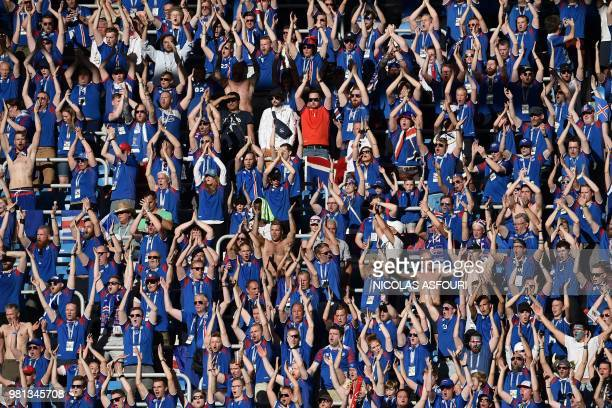 Iceland's fans cheer their team before the Russia 2018 World Cup Group D football match between Nigeria and Iceland at the Volgograd Arena in...