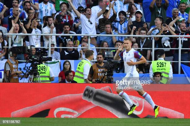 Iceland's forward Alfred Finnbogason celebrates after scoring a goal during the Russia 2018 World Cup Group D football match between Argentina and...