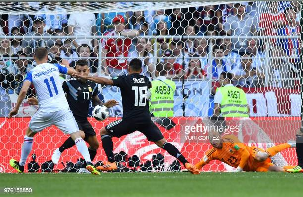 Iceland's forward Alfred Finnbogason scores a goal during the Russia 2018 World Cup Group D football match between Argentina and Iceland at the...