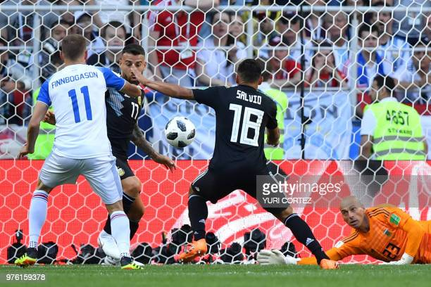 TOPSHOT Iceland's forward Alfred Finnbogason scores a goal during the Russia 2018 World Cup Group D football match between Argentina and Iceland at...