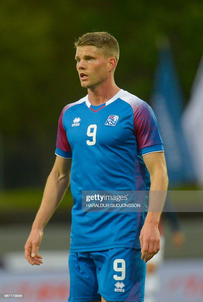 Iceland's forward Bjorn Sigurdarson plays during the international friendly football match Iceland v Norway in Reykjavik, Iceland on June 2, 2018.