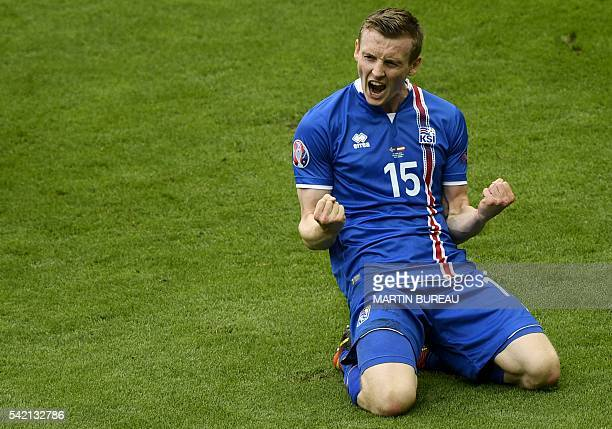 Iceland's forward Jon Dadi Bodvarsson celebrates after scoring during the Euro 2016 group F football match between Iceland and Austria at the Stade...
