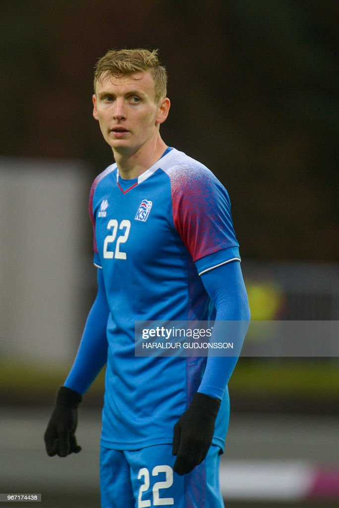 Iceland's forward Jon Dadi Bodvarsson plays during the international friendly football match Iceland v Norway in Reykjavik, Iceland on June 2, 2018.