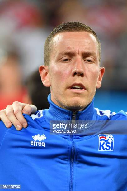 Iceland's goalkeeper Hannes Halldorsson poses ahead of the Russia 2018 World Cup Group D football match between Iceland and Croatia at the Rostov...