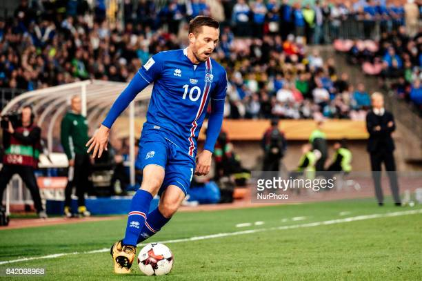 Iceland's Gylfi Sigurdsson during the FIFA World Cup 2018 Group I football qualification match between Finland and Iceland in Tampere Finland on...