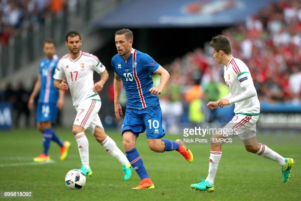 Iceland's Gylfi Sigurdsson gets away from Hungary's Adam Nagy
