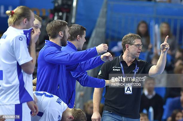 Iceland's head coach Geir Sveinsson gives his instructions during the 25th IHF Men's World Championship 2017 Group B handball match Macedonia vs...