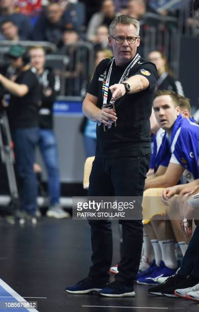 Iceland's head coach Gudmundur Gudmundsson reacts during the IHF Men's World Championship 2019 Group I handball match between Iceland and France at...