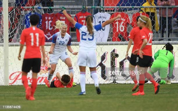 Iceland's Honnudottir Rakel celebrates her goal against South Korea during a women's friendly football match in Chuncheon on April 9 2019