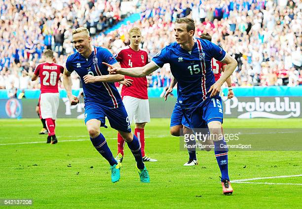 Iceland's Jon Dadi Bodvarsson celebrates scoring his sides first goal during the UEFA Euro 2016 Group F match between Iceland and Austria at Stade de...