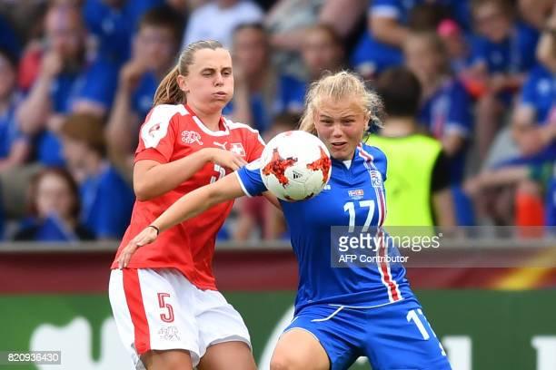 Iceland's midfielder Agla Maria Albertsdottir vies with Switzerland's defender Noelle Maritz during the UEFA Womens Euro 2017 football tournament...