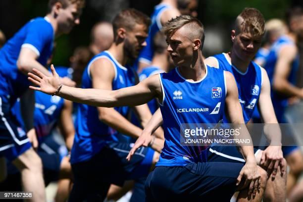 Iceland's midfielder Albert Gudmundsson attends a football training session at Olimp Stadium in Kabardinka on June 11 ahead of the Russia 2018 World...