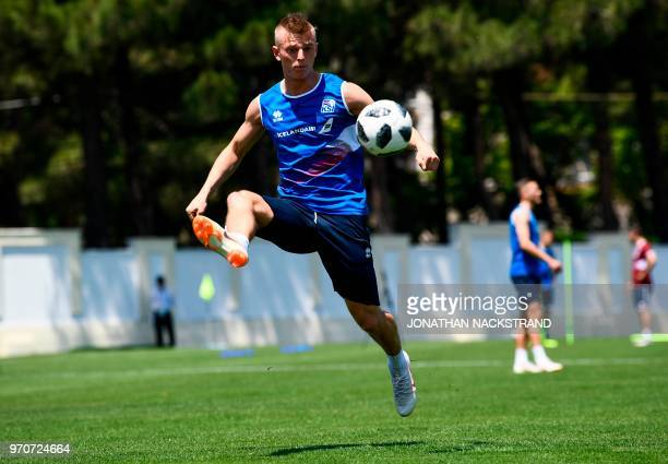 Iceland's midfielder Albert Gudmundsson controls the ball during a training session at Olimp Stadium in Kabardinka on June 10 ahead of the Russia...
