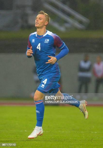 Iceland's midfielder Albert Gudmundsson plays during the international friendly football match Iceland v Norway in Reykjavik Iceland on June 2 2018