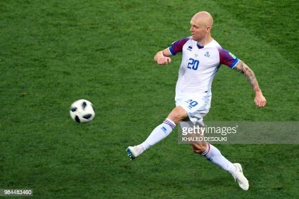 TOPSHOT Iceland's midfielder Emil Hallfredsson controls the ball during the Russia 2018 World Cup Group D football match between Iceland and Croatia...