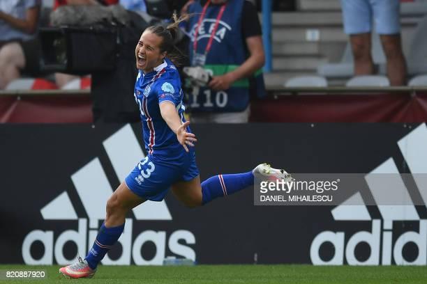 Iceland's midfielder Fanndis Fridriksdottir celebrates after scoring a goal during the UEFA Womens Euro 2017 football tournament match between...