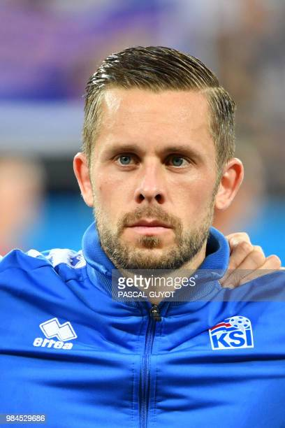 Iceland's midfielder Gylfi Sigurdsson poses ahead of the Russia 2018 World Cup Group D football match between Iceland and Croatia at the Rostov Arena...