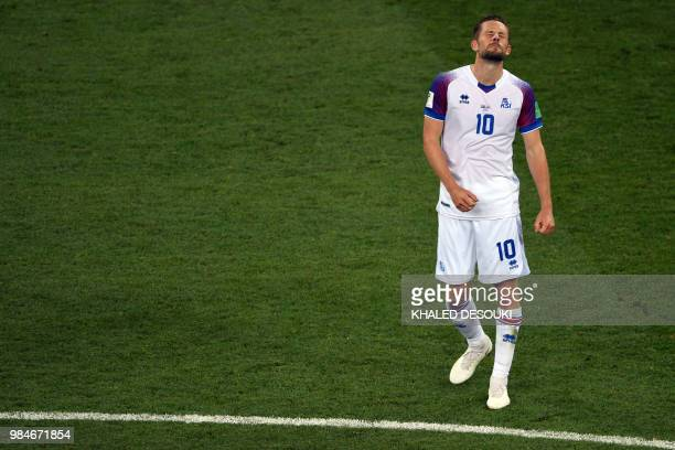 Iceland's midfielder Gylfi Sigurdsson reacts at the end of the Russia 2018 World Cup Group D football match between Iceland and Croatia at the Rostov...