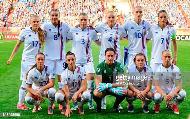 Iceland's national soccer team players Agla Maria Albertsdottir Sigridur Gardarsdottir Ingibjorg Sigurdardottir Glodis Viggosdottir Dagny...