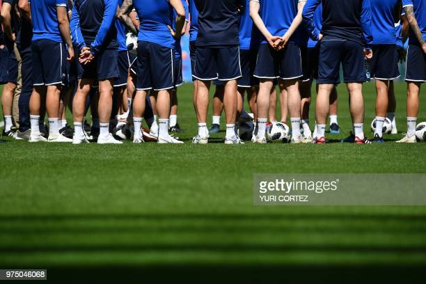 TOPSHOT Iceland's players take part in a training session at Spartak Stadium in Moscow on June 15 on the eve of their Russia 2018 World Cup Group D...